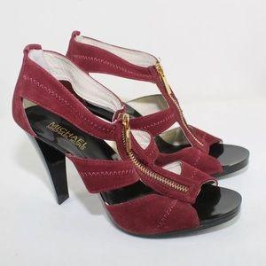 NEW Michael Kors Red Suede Leather Zipper Heels